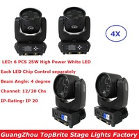 Free Shipping 4 Units 6X25W White LED Lamp Super Beam Moving Head Stage Lights 100 240V Professional Lighting Shows Equipments