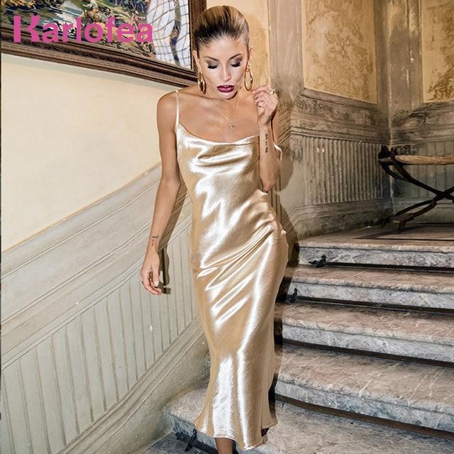 Karlofea New Gold Silky Long Dress Sexy Backless Cowl Neck Birthday Party  Maxi Dress Sleeveless Rayon Strap Club night Vestidos 521eb6af2821