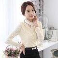 Women Shirts Slim Full Sleeve Chiffon Neck This File Thicken Follow-up Blouse Shirt Black Apricot 8122