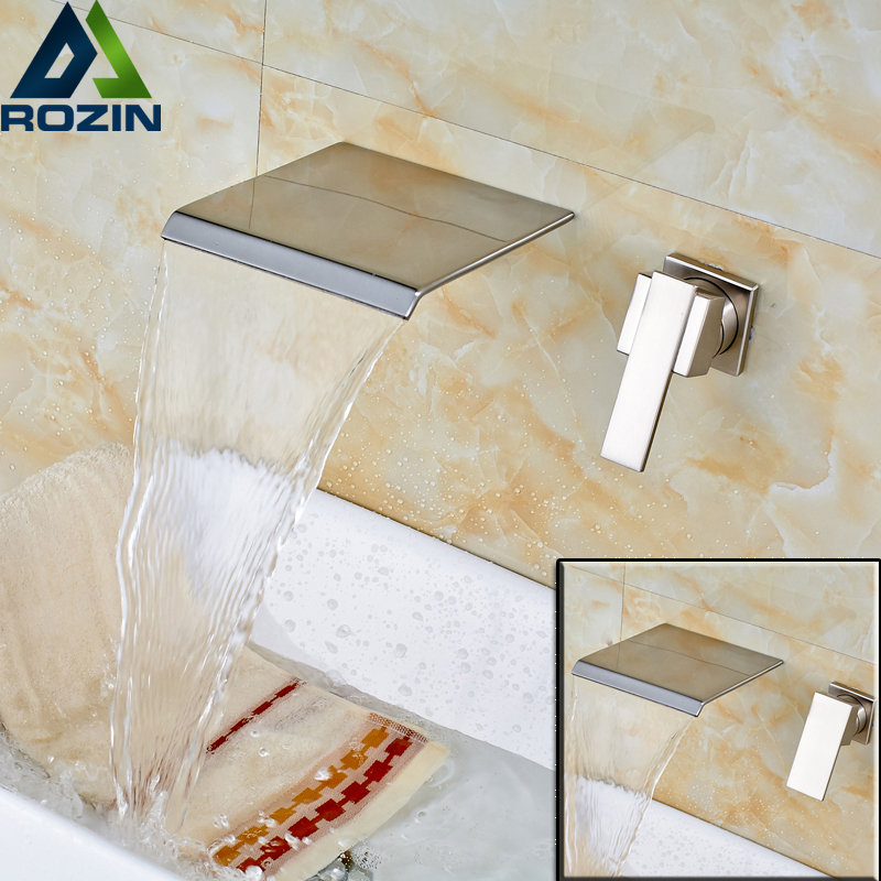 цена на Brushed Nickel Waterfall Single Handle Basin Faucet Wall Mounted Dual Hole Bathroom Mixer Water Taps
