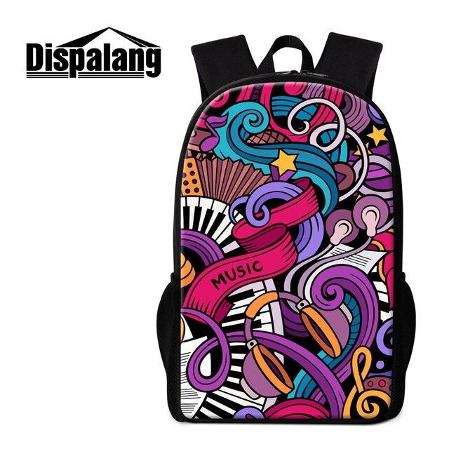 45ed23768d Dispalang artístico music 3d mulheres impressão mochila crianças engraçadas  do livro de escola sacos elegante bolsa