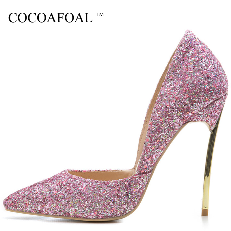 COCOAFOAL Woman Plus Size 33 43 44 Glitter Shoes Sexy Stiletto Pink Silver Valentine Shoes Bling Blue Pointed Toe Wedding Pumps