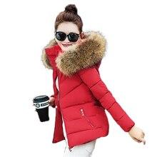 Winter Jacket Women 2016 Fashion Slim short paragraph hooded jacket Raccoon fur collar thick Warm padded jacket  Parkas Mujer