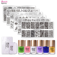 BeautyBigBang 14Pcs/Set Nail Stamping Starter Kit Water Marble Plate With Clear Jelly Stamper Polishes
