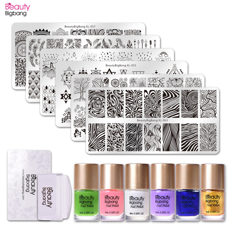 Popular Brand Beautybigbang 14pcs/set Nail Stamping Starter Kit Water Marble Nail Stamping Plate With Clear Jelly Stamper Stamping Polishes Beauty & Health Nail Art
