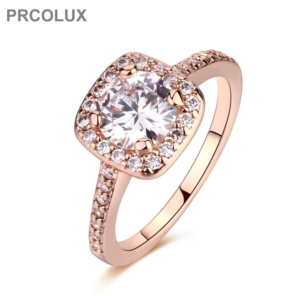 PRCOLUX Classic Grils Wedding Finger Ring Rose Gold Color Rings White Cubic Zirconia Round Fashion Womens Jewelry Gifts QFA53