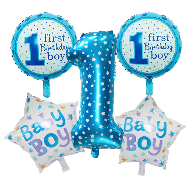 Free Ship 5PCS Lot Blue Pink Number Balloon Happy Birthday Party Decoration Kids Boy Girl Ballon