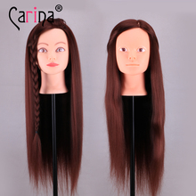 Professional 60cm Brown Fiber Beautiful Hair Female Mannequin Hairdressing Styling Training Head High Quality