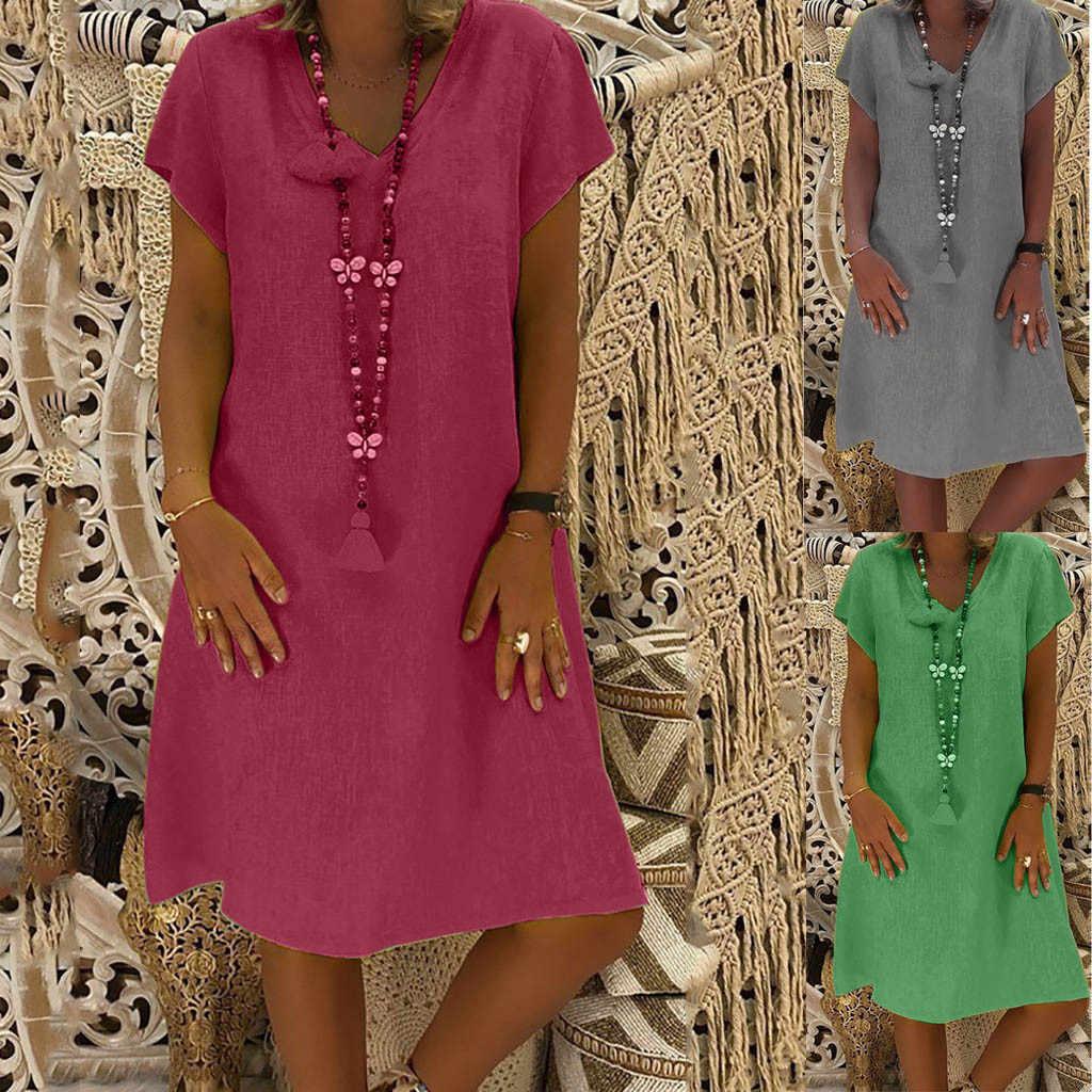 Vrouwen Jurk Plus Size Jurken Womens Losse Zomer Stijl Feminino Vestido Cotton Casual Big Size Dames Jurk Boho Zonnejurk #40