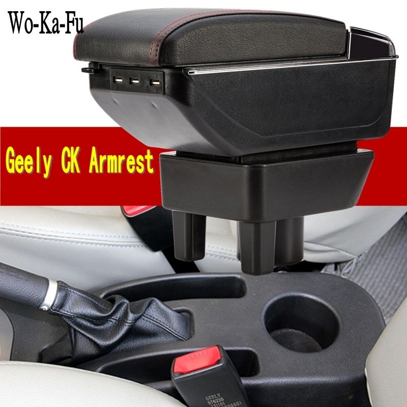 For New Geely CK armrest box central Store content Storage King kong CK2 CK3 armrest box with USB interface cup holder ashtray qcbxyyxh for chevrolet sail 3 armrest central store content storage box with cup holder ashtray abs leather accessory 2015 2018