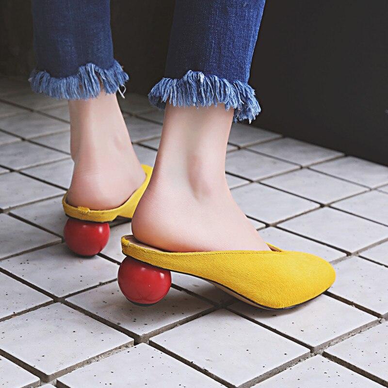 2017 искусственная из конского волоса бренд летняя обувь с круглым носком без шнуровки тапочки сплошной красный шар странно на среднем каблуке в простом стиле сабо женские розовые
