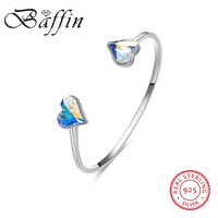 BAFFIN 925 Sterling Silver Open Bangles Hearts Crystals From SWAROVSKI Romantic Gifts For Women Wedding Party Fine Jewelry