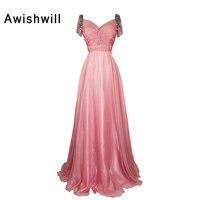 Elegant Long Evening Dress 2018 Short Sleeve Crystal Beaded Chiffon Formal Party Prom Gown Vestido de Festa Robe de Soiree