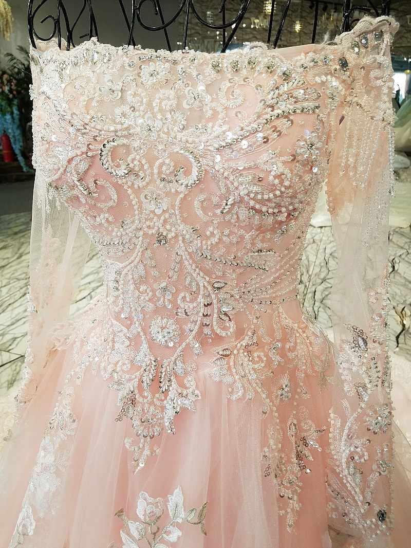 LS64345 ピンクボートネック夜会服のフルスリーブイブニングドレスロングレースアップバックフォーマルドレス vestido ロンゴ · デ · フェスタリアルフォト