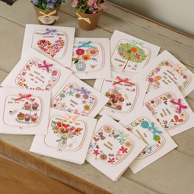 12 Sets Cute Mini Greeting Cards Square Handmade Birthday Cards For