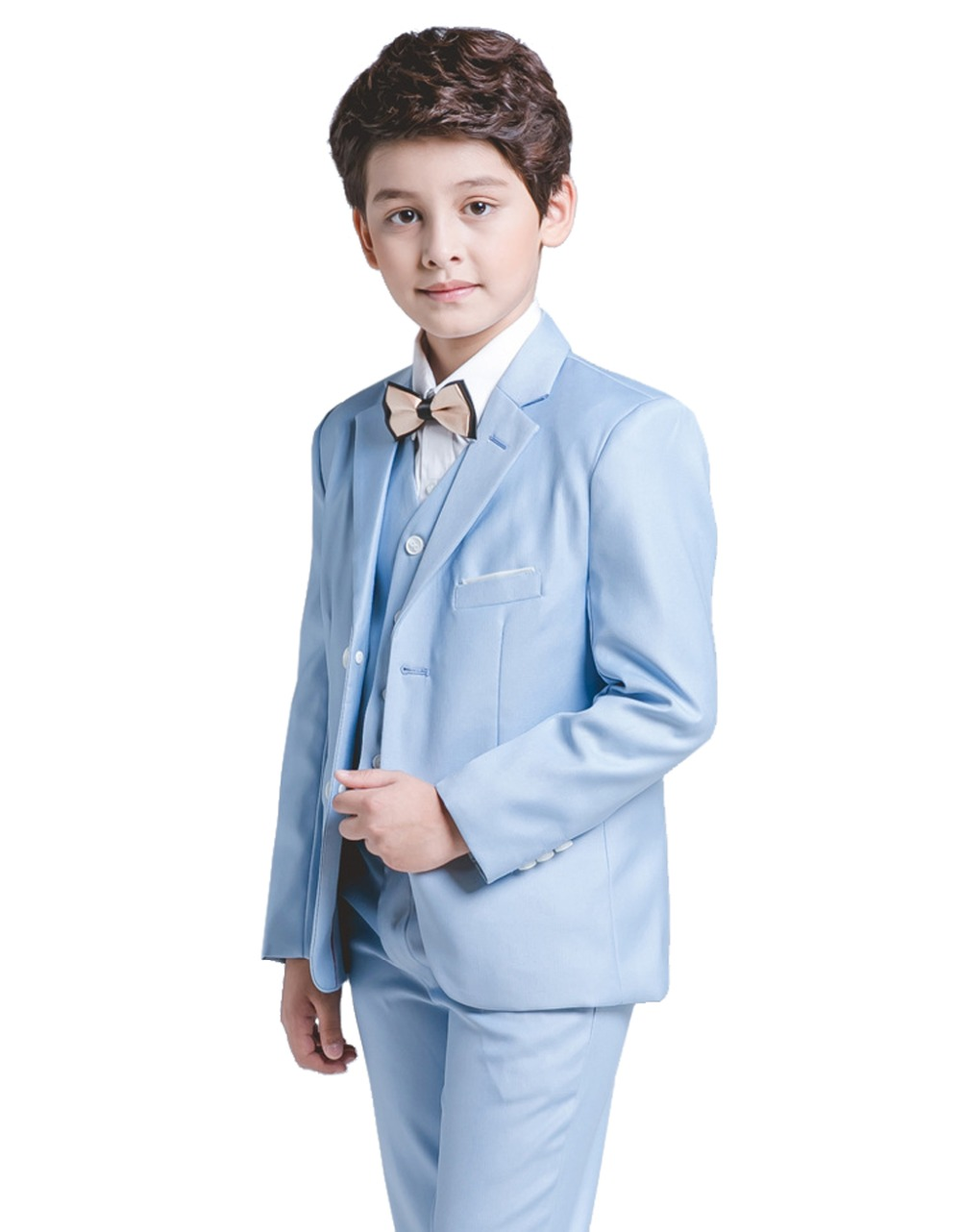 5 Piece Boys Blue Suits Slim Fit Ring Bearer Suit For Boys Formal Classic Costume Weddings цена 2017
