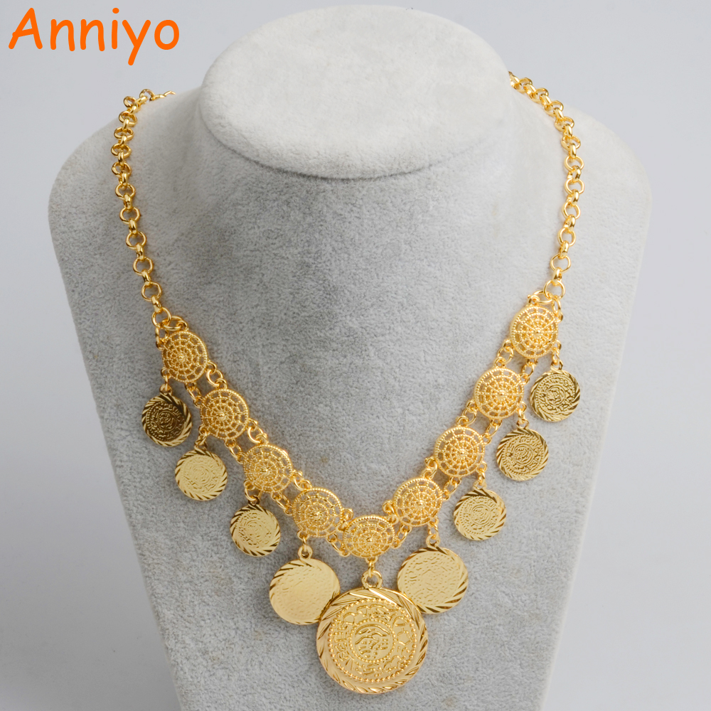 Anniyo New Design Charm Arab Coin Necklaces for Women's Gold Color Middle East Ancient Coins Jewelry African Girl #066106 anniyo wholesale coin bracelet for women arab chain middle eastern gift gold color coins jewelry middle eastern wedding 048006
