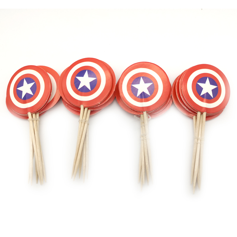 24pc Birthday Party Boys Kids Favors Cake Topper Decoration Happy Baby Shower Captain America design Cupcake Toppers With Sticks-in Cake Decorating Supplies from Home & Garden