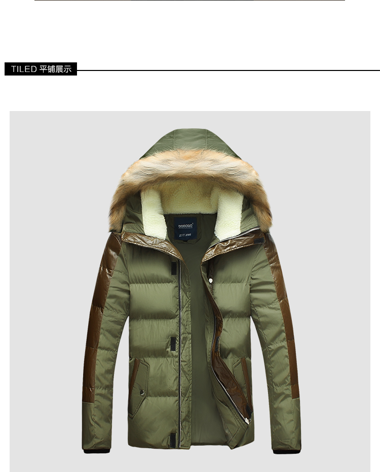 2015 New Mens Winter Jacket for Men Thick Warm Fur Hood Patchwork Leather Plus Size 3XL