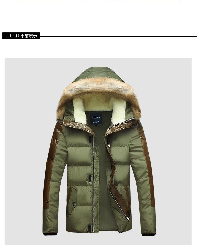 ФОТО 2015 New Mens Winter Jacket for Men Thick Warm Fur Hood Patchwork Leather Plus Size 3XL 4XL 5XL Winter Coat Men Down Jackets 5z