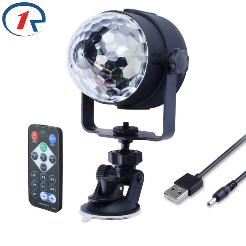 ZjRight IR Remote RGB LED Crystal Magic Rotating Ball Luz de escenario 1m USB 5V Colorido ktv DJ light disco light Luz de efecto de fiesta