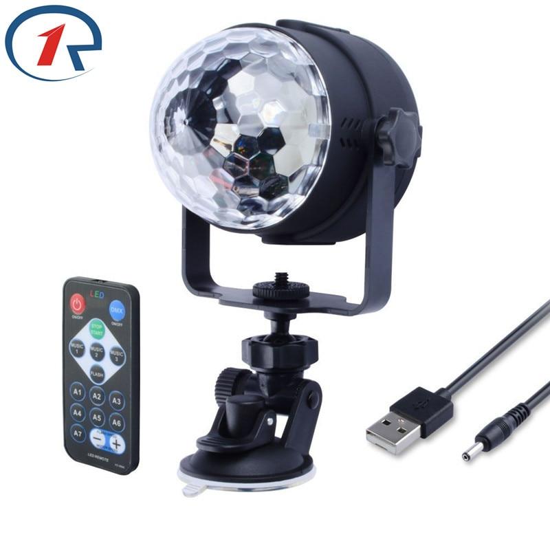 ZjRight IR Remote <font><b>RGB</b></font> <font><b>LED</b></font> Crystal Magic Rotating Ball Stage Light 1m USB 5V Colorful ktv DJ light disco light Party Effect Light