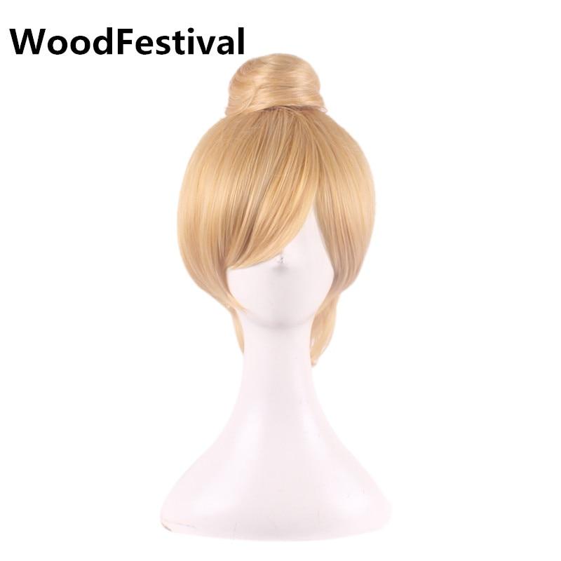 WoodFestival блондинка коротке волосся косплей перуку блондин пряма фея перуку жаростійке волокно жінок синтетичні перуки