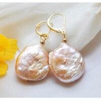 Elegant 100% Genuine Freshwater Pearl Dangle Earrings For Women,19mm Pink Coin Pearl Jewellery