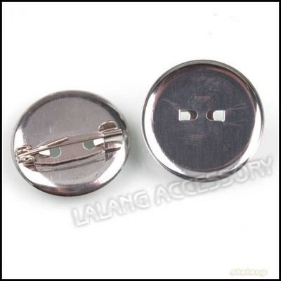 300pcs/lot Wholesale Fashion Iron Round Pin Back Brooch Findings Rhodium Plated For Jewelry Making 23x23x7mm 160326