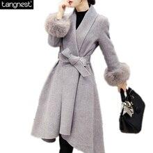 TANGNEST Elegant Pea Coat Faux Fur Sleeve Trench 2016 Fashion Brand Winter Overcoat Wool Blends Elastic Waist Coat WWN1118