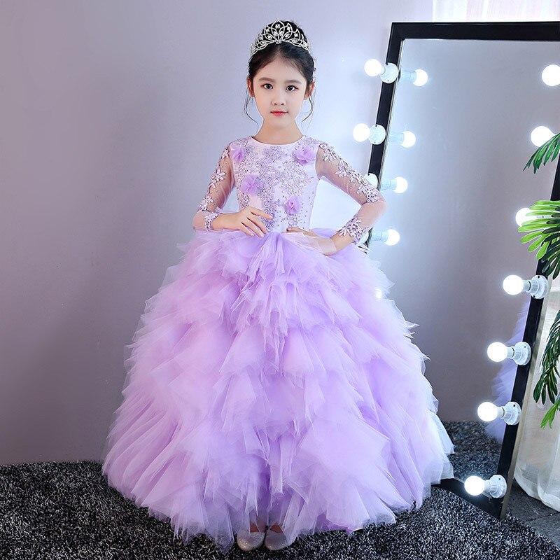 Весенне осеннее роскошное детское элегантное фиолетовое платье с многослойным перьевой шар кружевное платье для девочек подростков на ден