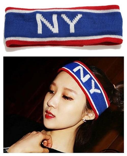 Summer NEW SALE girl Casual sport sweatband women elastic hairband blue red striped knit weave head wear