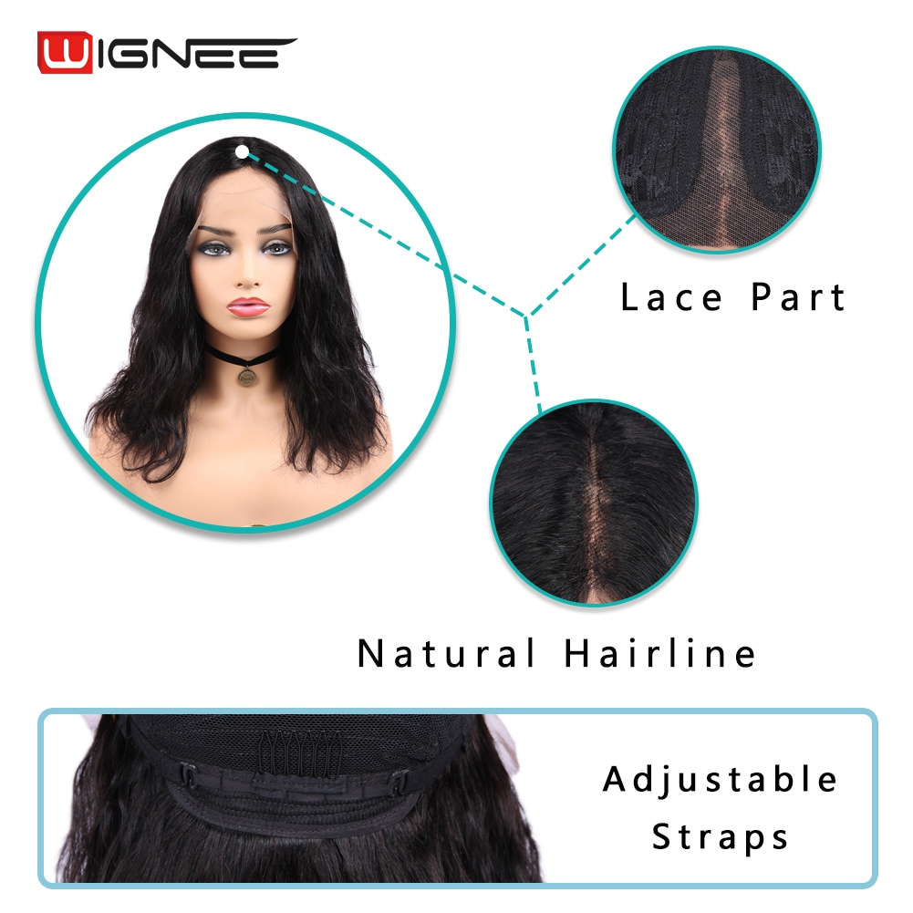 Wignee кружевные передние человеческие парики с детскими волосами для черных женщин бразильские предварительно выщипанные волосы без клея натуральные волнистые человеческие волосы парики