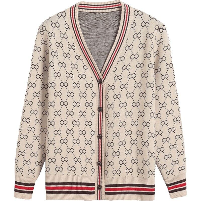 Nova primavera 2018 camisola feminina cardigans casual quente design de moda feminina camisola de malha casaco impresso cardigan camisola senhora