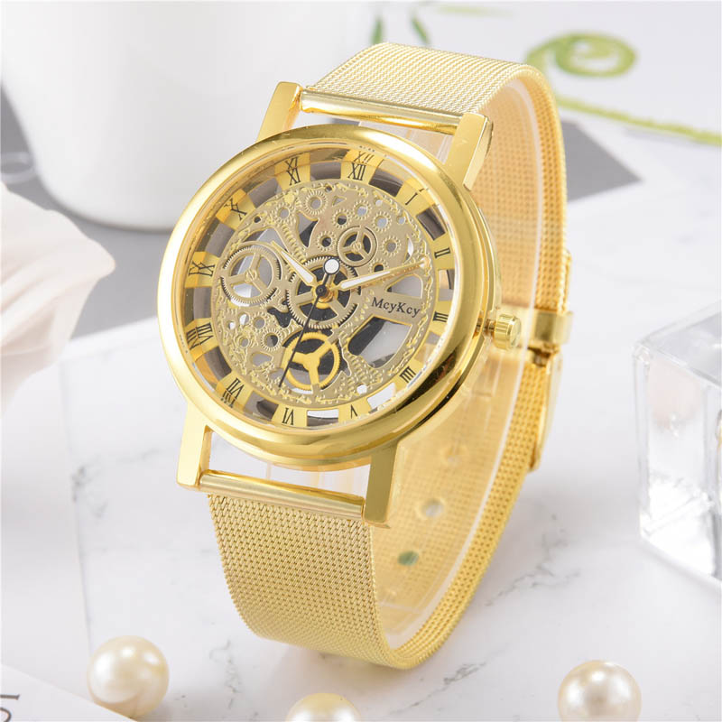 McyKcy Men Quartz Watch Stainless Steel Strap Hollow Out Roman Numerals Dial Wristwatch Casual Watches  TT@88