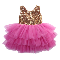 Kids Baby Girls Summer Patchwork Sleeveless Gold Bow Sequins Princess Backless Lace Party Dress