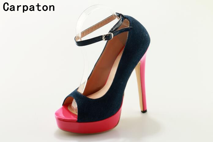 Carpaton fashion dark blue heels and pink color high heel peep toe sexy pumps buckle strap women platform shoes cusual stiletto 2016 summer peep toe thin thick high heels pumps with platform rhinestones buckle sandals women pu pink white blue sexy shoes