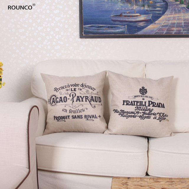 ROUNCO Retro Postmark Hand Stamp English Letters Cushion Cover Birds Flowers Pillow Covers Linen Cotton Decorative Sofa