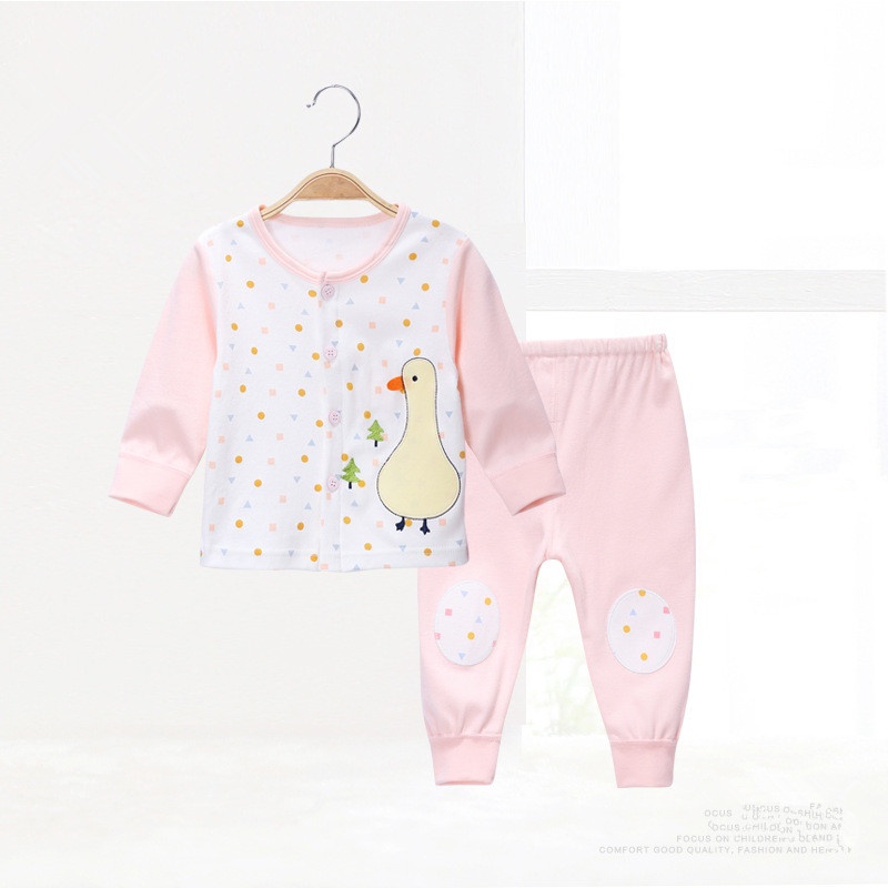 Cartoon Single breasted Baby Boys Girls Clothes Cotton Babys Sets C01-P11