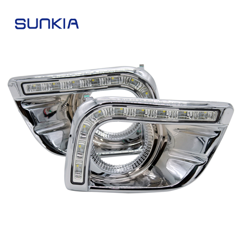 SUNKIA Car LED DRL Daytime Running Light with Fog Lamp Hole for Toyota Prado FJ150 LC150 2010-2013 Land Cruiser 2700/4000 dimmed light function car led drl daytime running lights with fog lamp hole for toyota prado land cruiser fj150 lc150 2010 2013