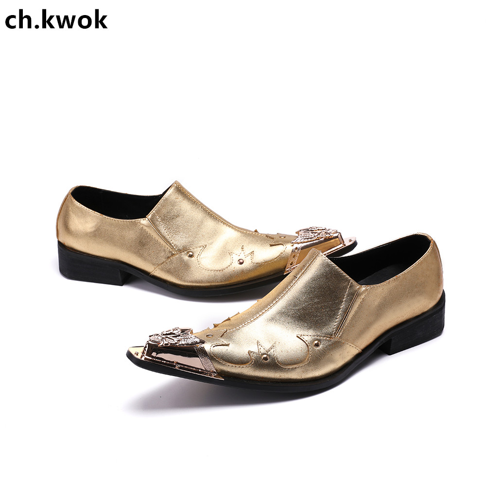 CH.KWOK Gold Crystal Men Dress Shoes Fashion Bling Bling Flat Shoes Slip-On Party Shoes Formal Shoes Christia Bella Party Oxford 2017 new fashion men bling bling oxford shoes for men brand designer evening party dress shoes men s flats plus size 38 46