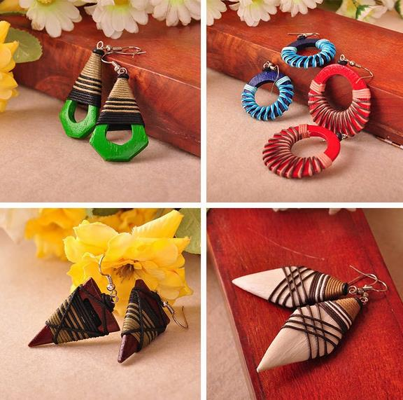 Many Geometric Patterns Thailand accessories mango wood Ethnic Style Coiling Individualizes
