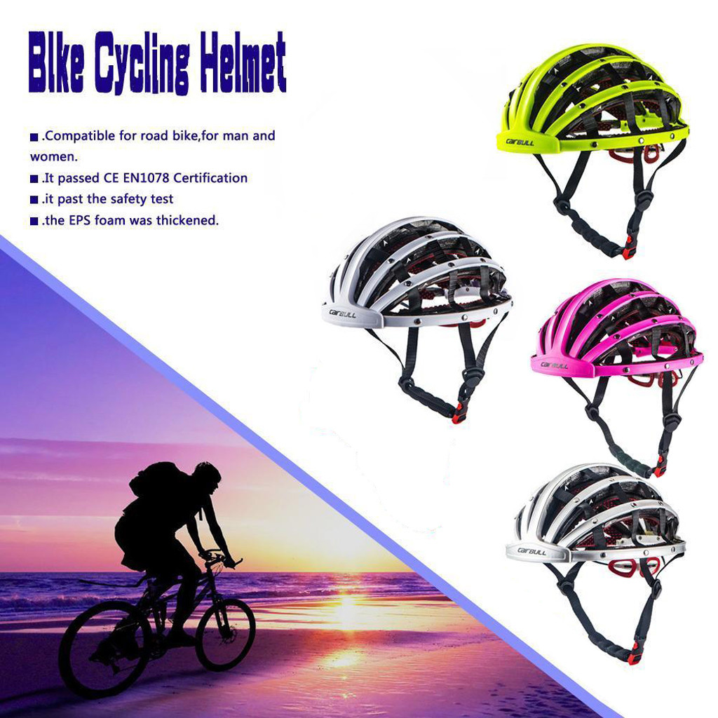 4 Colors Foldable Bicycle Helmet Bike Folding helmet Ultralight Unisex Cycling Helmets Road Men Women 56-62cm#g4(China)