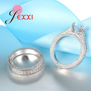925 Stamped Sterling Silver Ring Sets 2 PCS Bijoux Full African AAA Crystal Heart Stone Rings Romantic Wedding Best Chioce 4