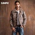2016 reales de Los Hombres estilo de la moda abrigo de piel Chaqueta de la Piel masculina ropa de cuero de la motocicleta ropa de cuero de piel de oveja de piel abrigos de piel