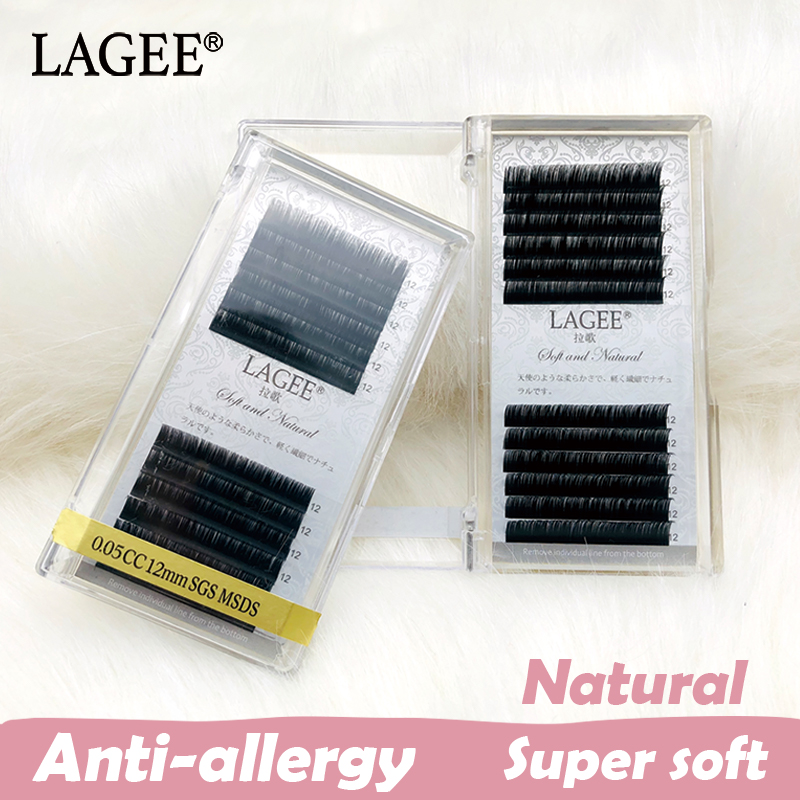 LAGEE Korean Pbt JBCD Curl 3d Mink Natural Super Soft Eyelashes Extension Premium Individual Fake False Eye Lashes Extension