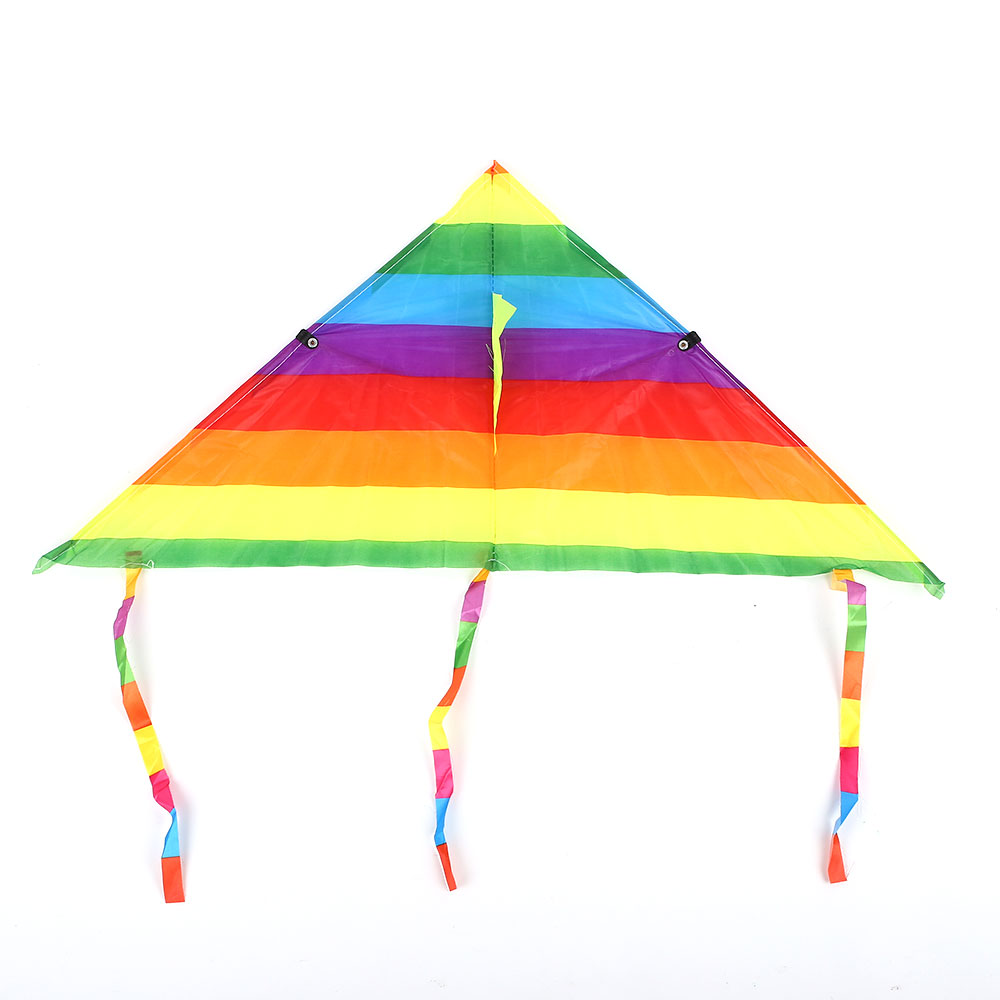 Colorful Rainbow Kite Long Tail Polyester Outdoor Kites Flying Toys For Children Kids Stunt Surf Kite With Control Bar And Line