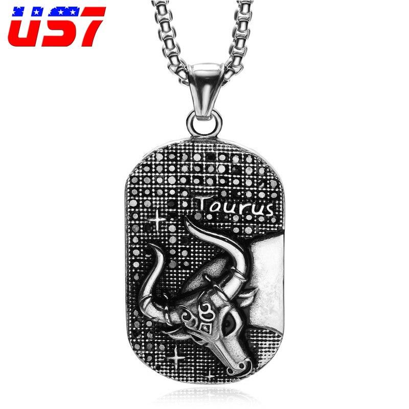 Men S Stainless Steel Pisces Zodiac Dog Tag Pendant: Aliexpress.com : Buy US7 Punk 12 Zodiac Sign Men Taurus