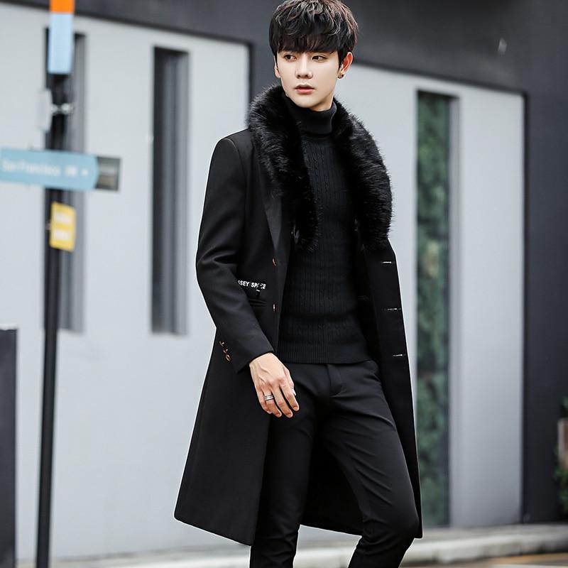 2018 Men New Winter Woolen Fur Collar Long Coat Warm Outwear Slim Coat Men Long Winter Trench Coat chaqueta invierno hombre