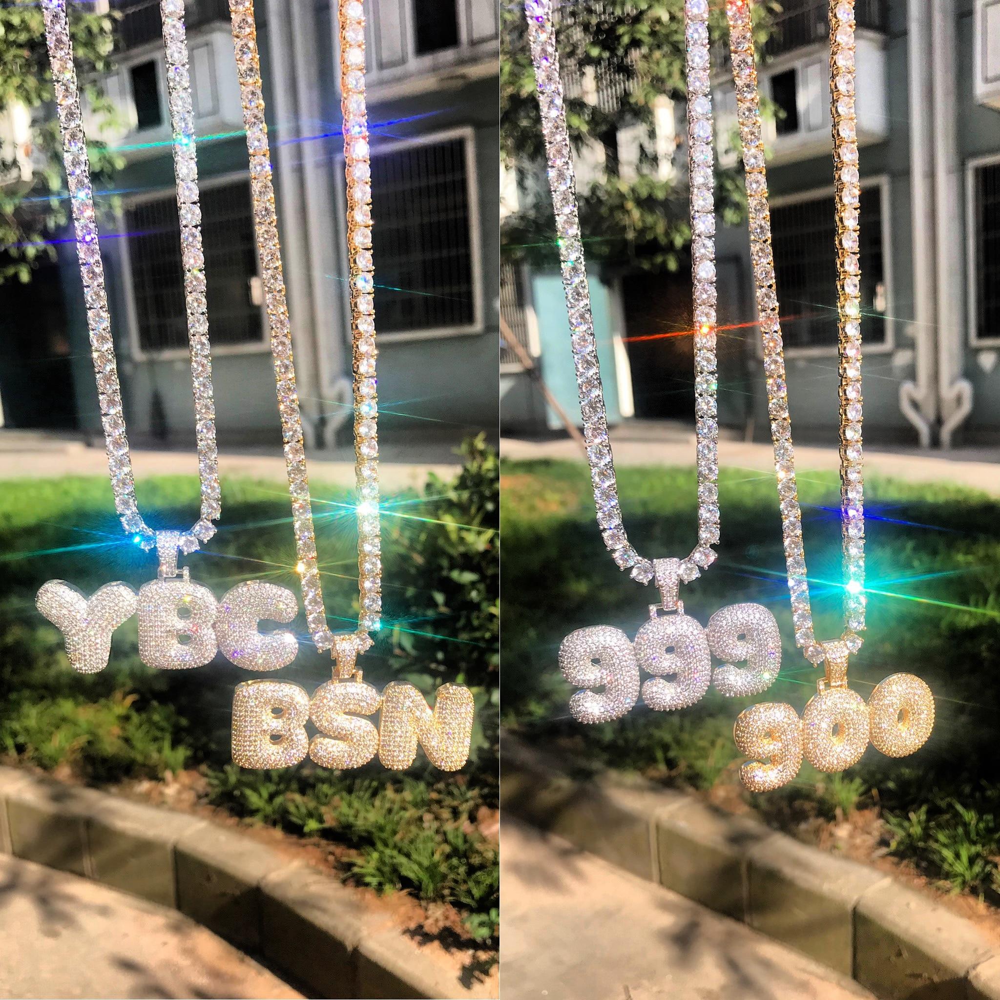 Image 3 - Пользовательское имя пузырь цепочка с буквами ожерелья с подвесками для мужчин Циркон хип хоп ювелирные изделия с 4 мм золото серебро теннисная цепь-in Ожерелья-цепочки from Украшения и аксессуары